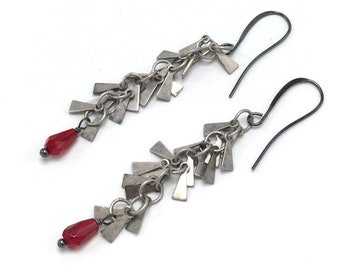 Antique silver and red fringe dangle earrings, unique, gift for her