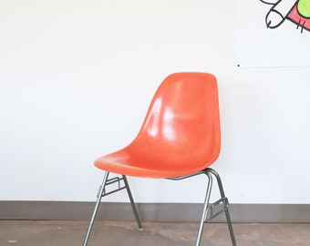 Sold *** Vintage Orange, Herman Miller Eames Shell Chair with Stacking Base