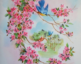 Vintage Birthday Card - Glitter Bluebird and Pink Tree Blossoms - Unused
