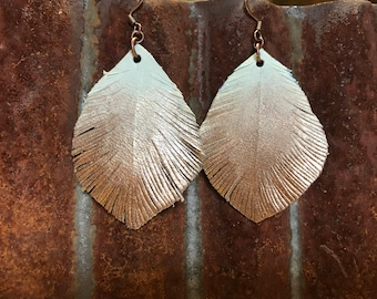 Rose Gold Tipped Leather Earrings