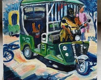 Rickshaw / ORIGINAL PAINTING / etude / realizm / moment