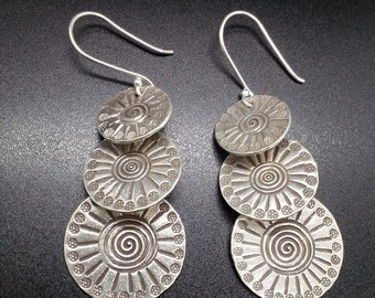 99% pure silver 3-layered disc, drop earrings
