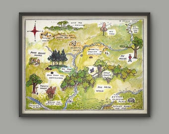 Hundred Acre Wood Print, Classic Winnie The Pooh Nursery Art, Childrens Bedroom Art, Playroom Decor, 100 Acre Wood Map, Boy And Girl Nursery