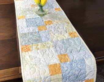 Quilted Batik Tablerunner, Reversible Quilted Table Runner, Modern Wallhanging, Cream Blue Orange Table Linens, Handmade Runner