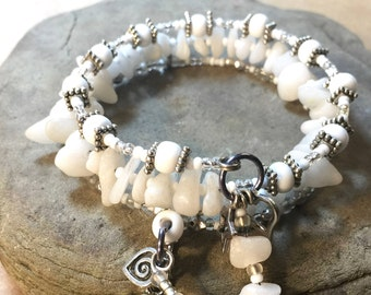 AA sobriety recovery 3x bracelet,white howlite bracelet,alcoholics anonymous,rule 62, AA sponsor anniversary gift,clean and sober bracelet