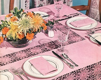 FREE SHIP Coats & Clark Book 321 Mid Century New Look Table Settings 1956 Luncheon Sets Tablecloths 15 Pages
