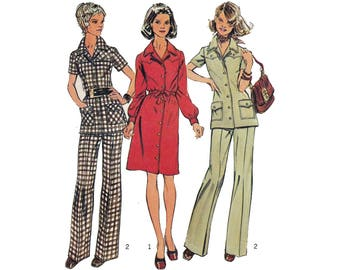 70's Dress, Tunic and Pants, Women's Sewing Pattern Misses Size 12 Bust 34 Uncut Vintage 1970's Simplicity 5735