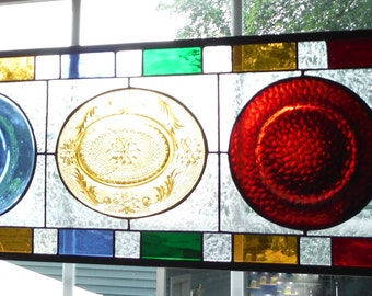 Bold and Beautiful Art Deco Style Stained Glass Panel, Sapphire Blue, Cut Glass Sunshine Amber, Vibrant Red, Handmade Transome