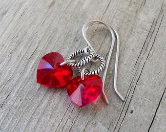 Valentine Gift for Her - Dangle Earrings - Titanium Earrings - Hypoallergenic - Hypoallergenic Earrings - Heart Earrings