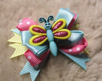 """Mo's USA Dog Bow - 2"""" boutique bow - yorkie+ Summer fun dragonfly turquoise pink"""