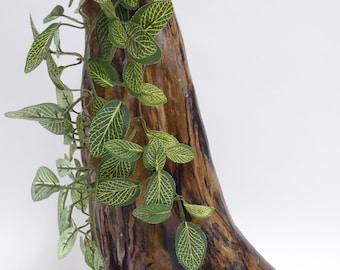 Driftwood sculpture, wood art, flowers, vines