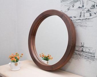 Round Wood Mirror, Round Decorative Wall Mirror, Ash Brown Wood Mirror Frame, Wall Mirror, Wall Decor, Round Framed Wall Mount Mirror