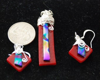 Dichroic Glass Cabochon Multi Color Fused Glass Cab Earrings Set
