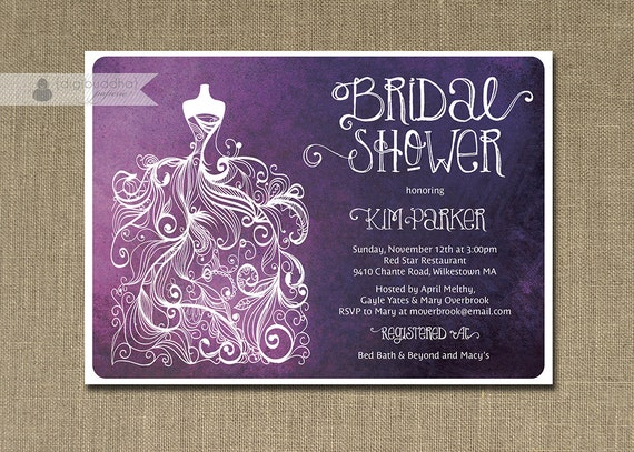 Plum ombre bridal shower invitation purple white gown shabby like this item filmwisefo Choice Image