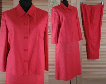 Talbots Pink 3 Pc Linen Skirt Pants and Jacket Suit Outfit Size 14 b48 w34 h46