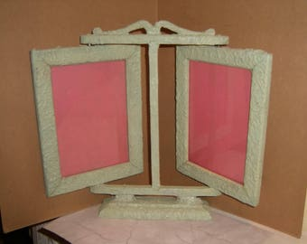 "Antique Chic Double Frame Swivel Stand Ruddy Shabby Mint Green Paint Gesso Double 5"" x 7"" Glass Wood Base Victorian Deco Cottage Charm"