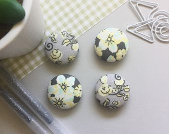 Floral Magnets, Gray Magnets, Refrigerator Magnets, Kitchen Decor, Office Decor, White Board Magnets, Gifts For Teachers, Gray Decor