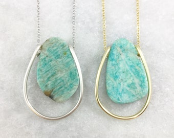 Green Peruvian Amazonite Pendant Necklace | Green Stone Necklace | Long Necklace | Natural Stone | Silver Plated | Gold Plated