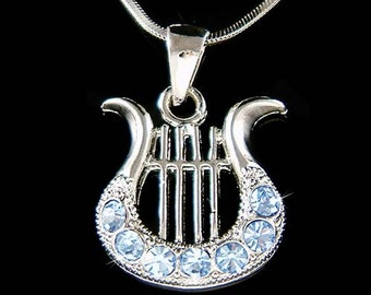 Blue Swarovski Crystal HARP music Musical Instrument Pendant Necklace Christmas Gift new