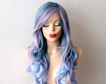 Pastel wig. Blue /Lavender /Pink hair wig. Long curly hair wig. Durable quality heat friendly wig for everyday wear or Cosplay.