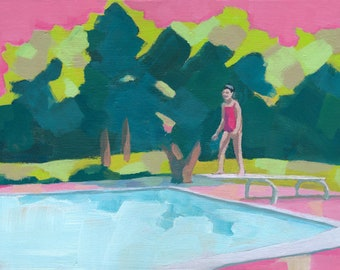 I'm Ready - original acrylic figurative painting of a girl jumping to a swimming pool pink green girl art girly room nursery decor art