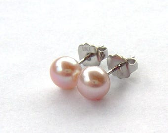 Pink Cultured Pearl stud earrings / Surgical stainless steel studs / June birthday / hypoallergenic / classic pearl earrings / gift for her
