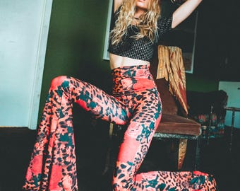 MADE TO ORDER +++ High-Waist Or Low-Rise   Leopard and Rose   Bellbottom   Flares   Bohemian Rocker Qypsy Queen Dream   Limited Edition