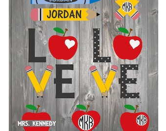 School Teacher Classroom Student SVG DXF Monogram Pack