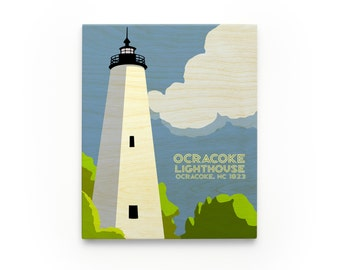 Ocracoke Lighthouse Art Block, North Carolina Lighthouse Art