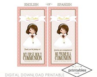 Girl Niña COMMUNION DIGITAL PRINTABLE party favor thank you English and Spanish Español gracias souvenir regalo primera comunion custom