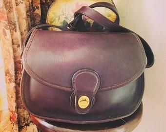 Vintage Coach Prairie Bag Mahogany Leather // Coach Crossbody Handbag // Coach Saddle Bag // Made In USA # 9954