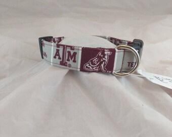 Texas A & M Pet Collar, Dog Collar, Cat Collar, Adjustable Collar, Small Dog Collar, Maroon and White, Collier de chien, collar de perro,