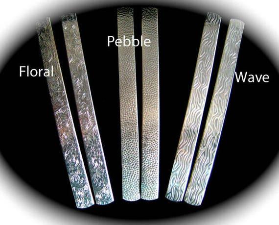 25 Texture 1/2 x 6 Inch 14 Gauge Polished  Embossed Bracelet Cuff Blanks Pure Alum - Floral Pebble Wave  Heiroglyphics  Birds Gears.....