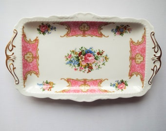 Royal Albert Lady Carlyle Vintage Sandwich Plate, Rectangular Cake Plate or Serving Platter, With Pink Roses. Great For A Pretty Tea Party