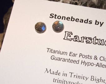 Longer Posts Labradorescence Exists Rose Cuts 6mm Faceted Labradorite Stud Earrings Earings Titanium Post and Clutch Flash Hypo Allergenic