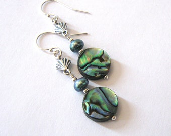 Abalone, Freshwater Pearl Earrings Sterling Silver Sea Shell, Tropical Resort Jewelry, Ear Wire Options