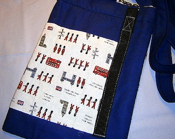 London Tablet Tasche, I Pad, Umhängetasche,guards, blau,rot,case,cover,sleeve,Hülle, handgearbeitet