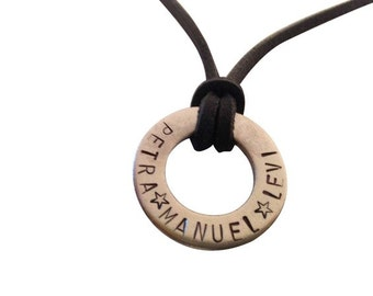 Chain + steel lettering hand-stamped