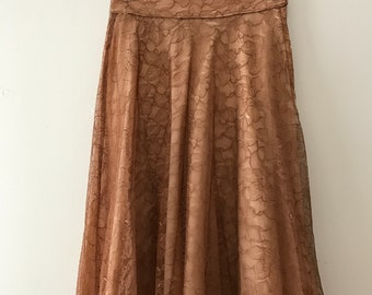 Mid-Century Beige Lace Circle Skirt