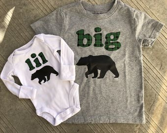 Big Bear, Lil Bear - Matching Big Brother Little Brother Shirts, Pregnancy Announcement, New Baby Announcement, Green Plaid with Black Bear