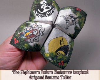 The Nightmare Before Christmas Origami Fortune Teller . cootie catcher . game . DIY toy . Digital instand DOWNLOAD . Paper Crafting . Favor.