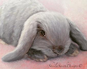 "Bunny Print, Easter Print, small grey bunny original, ""Hoppin' Bonny"" Easter Special"
