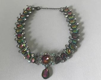 Vintage watermelon heliotrope choker necklace, drop necklace, vitrail necklace, statement necklace, formal necklace rivioli rhinestones