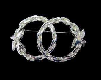 Interlocking Wreath Pin/ Silvertone Circle Pin/ Double Circles Brooch