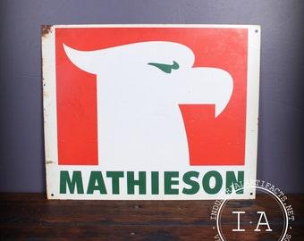 Vintage Mathieson Fertilizer Metal Advertising Sign