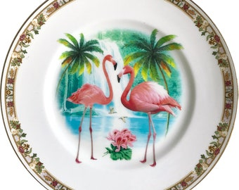 Flamingos - Vintage Porcelain Plate - #0593
