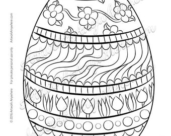 Fancy Flowered Easter Egg with Fun Tulips and Daisy Chain Flowers -Adult coloring page printable download from Artwork Anywhere ~hand drawn~