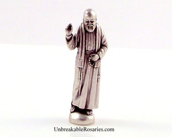 St Padre Pio Miniature Italian Religious Pocket Statue | Patron of Those Suffering From Pain