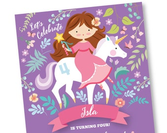 Princess & Unicorn Invitation, Printable, Customized, DIY invitation, Girl's Unicorn / Princess Party / Garden Party