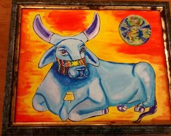 Taurus Star Sign Astrology Art painting Peaceful Blue Brahm Bull Peace on Earth .